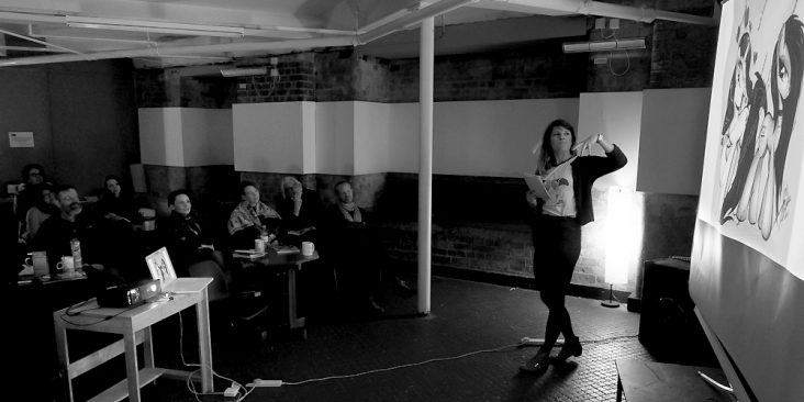 At the Nottingham Writers Studio, NDC guest, Harriet Lander, invites discussion of different depictions of the archaic poet, Sapho, in 'Wonder Woman', Victorian painting and… 'My Little Pony'! (Photo by Matt Brooker)